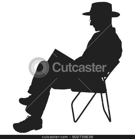 Man Reading stock vector clipart, Silhouette of a man reading. He is sitting in a chair and wearing a hat and glasses by Maria Bell