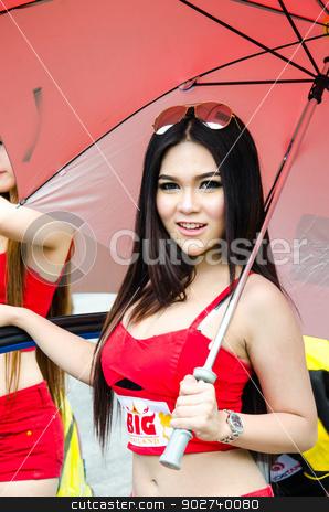 Thailand Super Series 2013 Race 4  stock photo, CHOUN BURI - AUGUST 18: Unidentified model with racing car on display at the Thailand Super Series 2013 Race 4 on August 18, 2013 at the Bira International Circuit Pattaya, Thailand. by chatchai