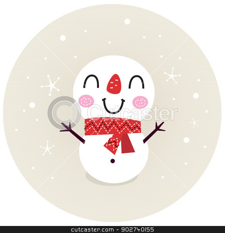Cute retro Snowman in circle isolated on beige stock vector clipart, Beautiful funny Snowman. Vector cartoon Illustration by BEEANDGLOW