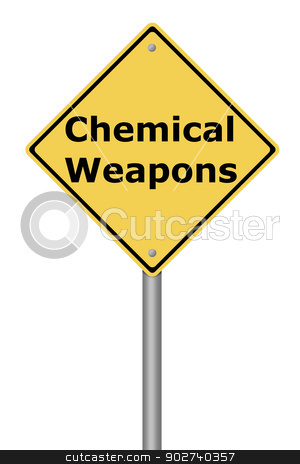 Warning Sign Chemical Weapons stock photo, Yellow warning sign with the text Chemical Weapons. by Henrik Lehnerer