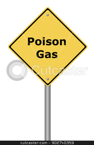 Warning Sign Poison Gas stock photo, Yellow warning sign with the text Poison Gas. by Henrik Lehnerer