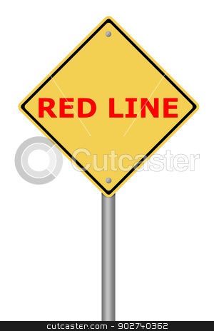 Warning Sign Red Line stock photo, Yellow warning sign with the text Red Line. by Henrik Lehnerer