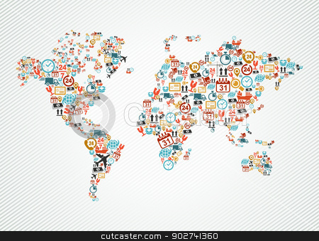 Delivery world map colorful shipping web icons illustration. stock vector clipart, Shipping and delivery icons in world map shape illustration. Vector file in layers for easy editing. by Cienpies Design