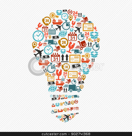 Idea light bulb, colorful shipping web icons composition. stock vector clipart, Shipping icons idea light bulb shape composition. Vector in layers for easy editing. by Cienpies Design