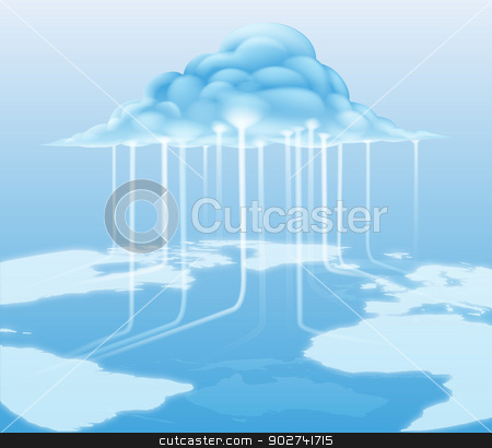 Cloud computer internet concept stock vector clipart, A cloud computing internet concept with information flowing to and from the cloud by Christos Georghiou