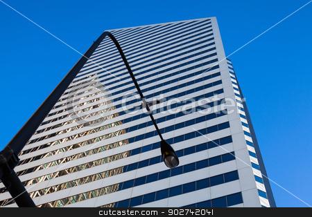 Looking up - skyscraper in Chicago stock photo, Detail of futuristic skyscraper in Chicago in USA by CaptureLight