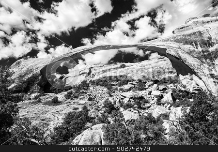 Landscape Arch Black White Rock Canyon Devils Garden Arches Nati stock photo, Landscape Arch Black White Rock Canyon Abstract Devils Garden Arches National Park Moab Utah USA Southwest. Longest and thinnest arch in the world. by William Perry