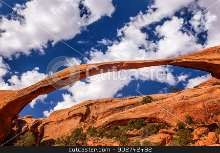 Landscape Arch Close up Rock Canyon Devils Garden Arches Nationa stock photo, Landscape Arch Big Blue Sky Rock Canyon Abstract Devils Garden Arches National Park Moab Utah USA Southwest. Longest and thinnest arch in the world. by William Perry