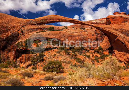 Landscape Arch Blue Sky Rock Canyon Devils Garden Arches Nationa stock photo, Landscape Arch Blue Sky Rock Canyon Abstract Devils Garden Arches National Park Moab Utah USA Southwest. Longest and thinnest arch in the world. by William Perry
