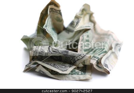 Money stock photo, US dollar paper money on white background. by Henrik Lehnerer