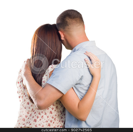 Military Couple From Behind Hugging Looking Away on White stock photo, Affectionate Military Couple From Behind Hugging Looking Away Isolated on White. by Andy Dean