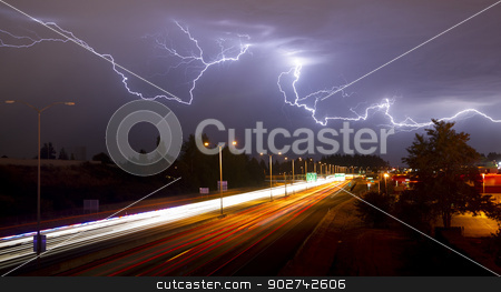 Rare Thunderstorm Producing Lightning Over Tacoma Washington I-5 stock photo, Lightning Bolts light up the sky late at night in Tacoma Washington by Christopher Boswell