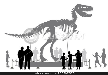 Dinosaur museum stock vector clipart, Editable vector silhouettes of people looking at a Tyrannosaurus rex skeleton in a museum by Robert Adrian Hillman