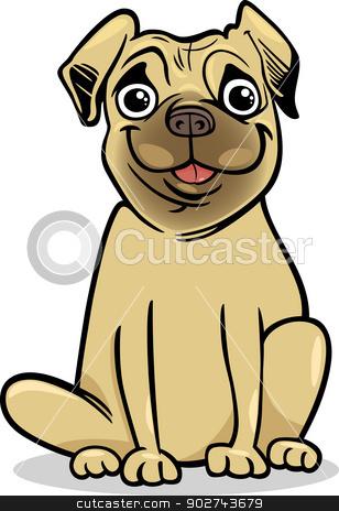 cute pug dog cartoon illustration stock vector clipart, Cartoon Illustration of Cute Purebred Pug Dog by Igor Zakowski