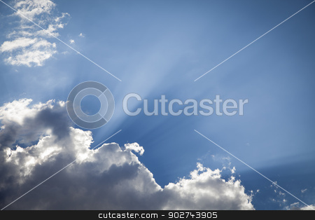 Silver Lined Storm Clouds with Light Rays and Copy Space stock photo, Beautiful Dramatic Storm Clouds with Silver Lining and Light Rays with Room For Your Own Text or Graphics. by Andy Dean