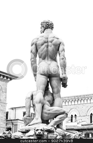 Man Back stock photo, Real Man Back in Piazza della Signoria, Florence, Italy by Paolo Gallo