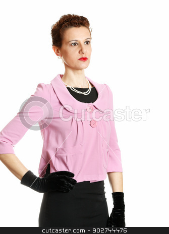 Elegant middle age woman stock photo, Elegant middle age woman isolated on white by Natalia Macheda