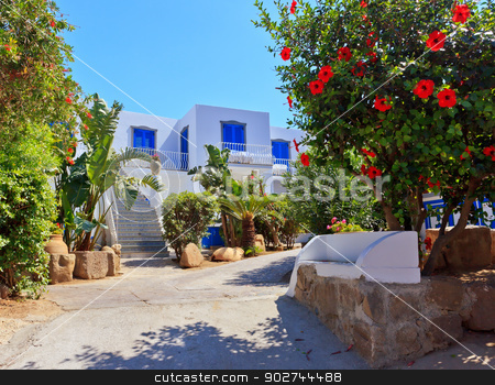 Architecture in Panarea stock photo, Amazing mediterranean style of Panarea architecture and flora by Natalia Macheda