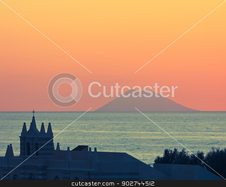 Amazing sunset over Stromboli stock photo, View in Tropea on Stromboli vulcano during sunset over mediterranean sea by Natalia Macheda