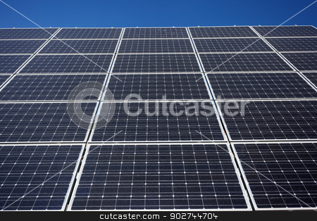 Solar panel background stock photo, Solar panel background from lower point by Natalia Macheda