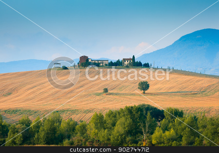 Tuscany landscape in Val d'Orcia stock photo, Wonderful tuscany landscape early morning when the colors are so soft by Natalia Macheda
