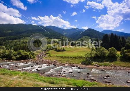 Alpine landscape stock photo, Peaceful alpine plateau with fir-trees, blue sky and river by Natalia Macheda