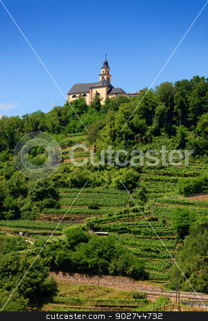 Church in Segonzano stock photo, Church over green vineyard in Segonzano in Trentino, Northern Italy by Natalia Macheda