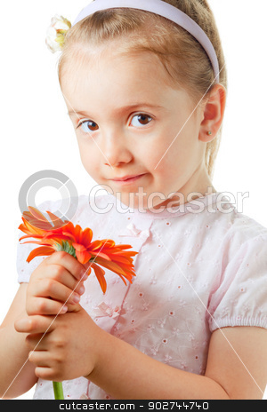 Pretty little girl with flower stock photo, Pretty little girl with orange flower isolated on white by Natalia Macheda