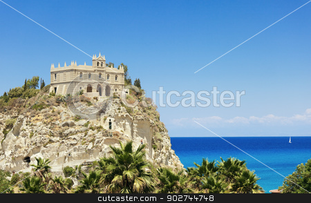 Santa Maria church in Tropea stock photo, Santa Maria church against wonderful sea in Tropea by Natalia Macheda