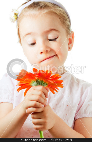 Funny little girl with flower stock photo, Funny little girl looking curiously on flower by Natalia Macheda