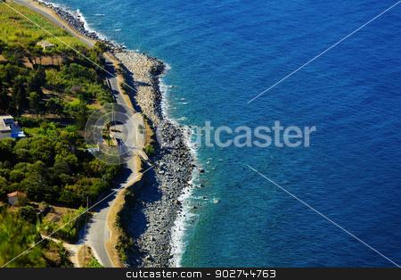 Rural road near the sea stock photo, Narrow rural road near the sea in Calabria, Italy by Natalia Macheda