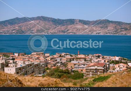 Calabrian view on Messina strait stock photo, Messina strait view from calabrian coast by Natalia Macheda