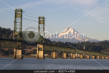 Bridge over Columbia to Hood River Oregon Cascade Mountain stock photo, The draw bridge takes you across the Columbia River to Hood River Oregon in the Shadow of Mt Hood by Christopher Boswell