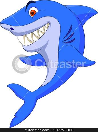 Cute shark cartoon  stock vector clipart, Vector illustration of Cute shark cartoon  by Teguh Mujiono
