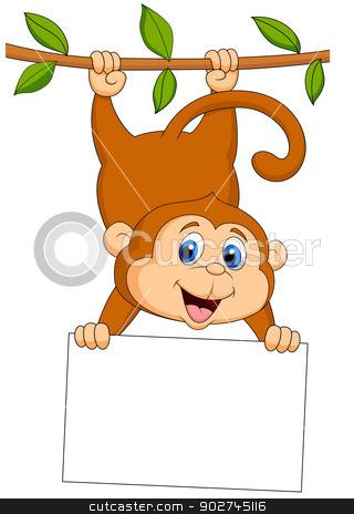 Cute monkey cartoon with blank sign stock vector clipart, Vector illustration of Cute monkey cartoon with blank sign by Teguh Mujiono