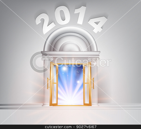 New Year Door 2014 stock vector clipart, New Year Door 2014 concept of a fantastic white marble door with columns with light streaming through it. by Christos Georghiou