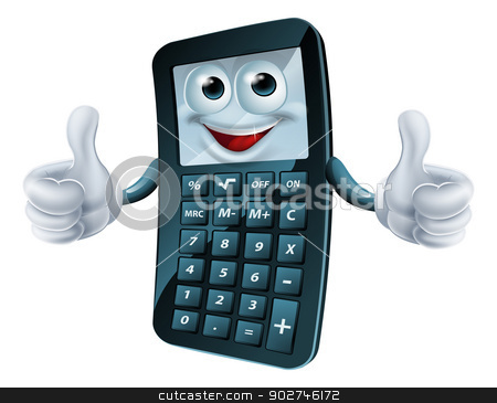 Cartoon Calculator Man stock vector clipart, An illustration of a happy cartoon calculator man giving a thumbs up by Christos Georghiou