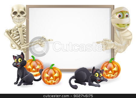 Halloween Sign with Skeleton and Mummy stock vector clipart, Halloween sign or banner with orange Halloween pumpkins and black witch's cats, witch's broom stick and cartoon skeleton and mummy characters  by Christos Georghiou