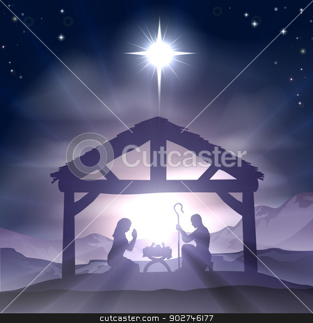 Christmas Manger Nativity Scene stock vector clipart, Christmas Christian nativity scene with baby Jesus in the manger in silhouette, and star of Bethlehem by Christos Georghiou