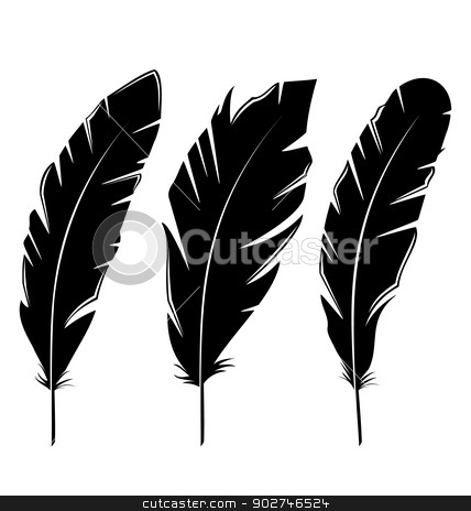 Set feathers isolated on white background stock vector clipart, Illustration set feathers isolated on white background - vector by -=Mad Dog=-
