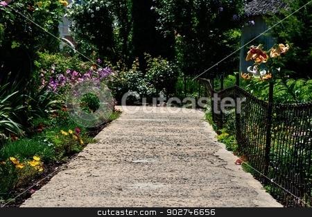 Flower Alley stock photo, Rural footpath Flower garden. by benjaminlion