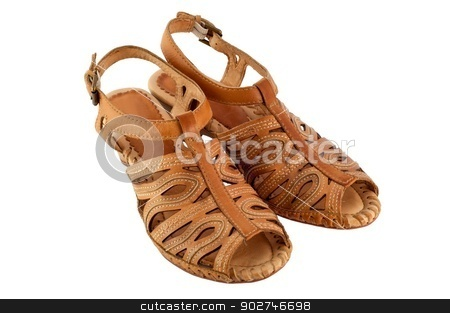 Sandals Isolated stock photo, A pair of women's sandals, isolated on a white background. by benjaminlion