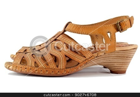 Sandals stock photo, A pair of women's sandals, isolated on a white background. by benjaminlion