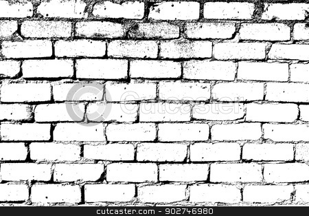 White Brick Wall stock vector clipart, Brick wall overlay texture - for your design. EPS10 vector. by benjaminlion