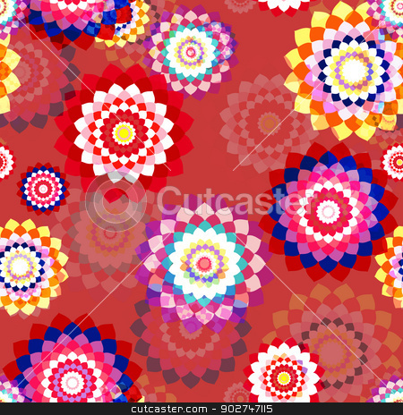Stylized Spring Flowers stock vector clipart, Floral seamless background - stylized aster flowers. EPS10 vector. by benjaminlion