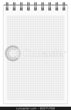 Checkered Notebook stock vector clipart, Blank Notepad, squared. EPS10 vector. by benjaminlion
