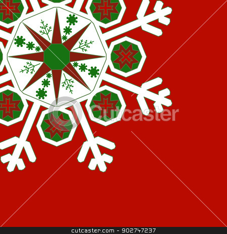 Red - Snowflake stock vector clipart, Decorative graphic snowflake on a red background. With space for text or image EPS10 vector illustration. by benjaminlion