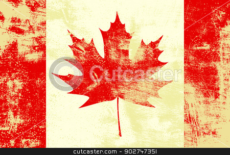 Grunge Canadian Flag stock vector clipart, Grunge textured canadian flag. EPS10 vector illustration. Grunge effect can be cleaned easily. by benjaminlion