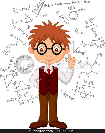 Smart boy cartoon  stock vector clipart, Vector illustration of Smart boy cartoon  by Teguh Mujiono