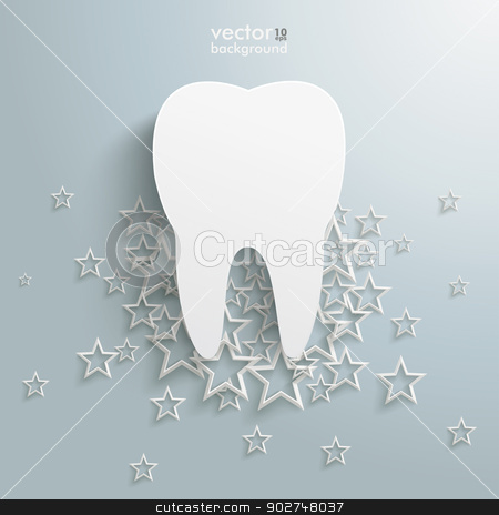 White Stars Cloud Tooth Background stock vector clipart, White stars with a tooth on the grey background. Eps 10 vector file. by Alexander Limbach
